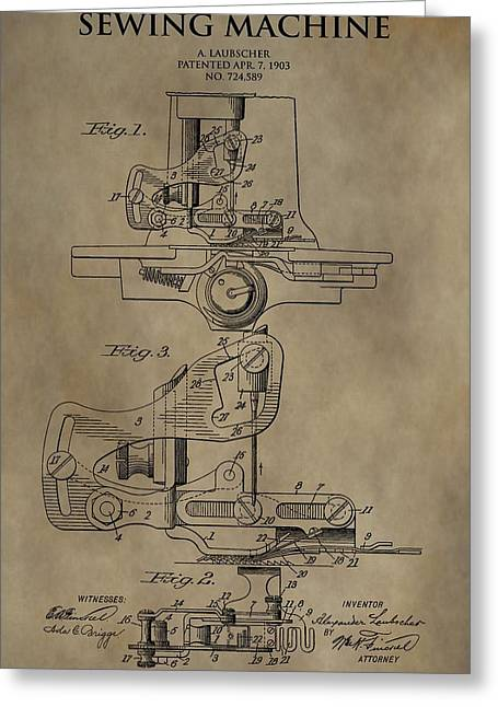 Vintage Sewing Machine Patent Greeting Card by Dan Sproul