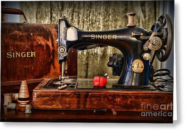 Vintage Sewing Machine Greeting Card by Paul Ward