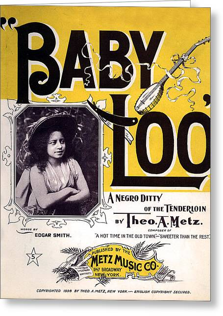 Vintage Sheet Music Cover  Circa 1898 Greeting Card by Theo A Metz