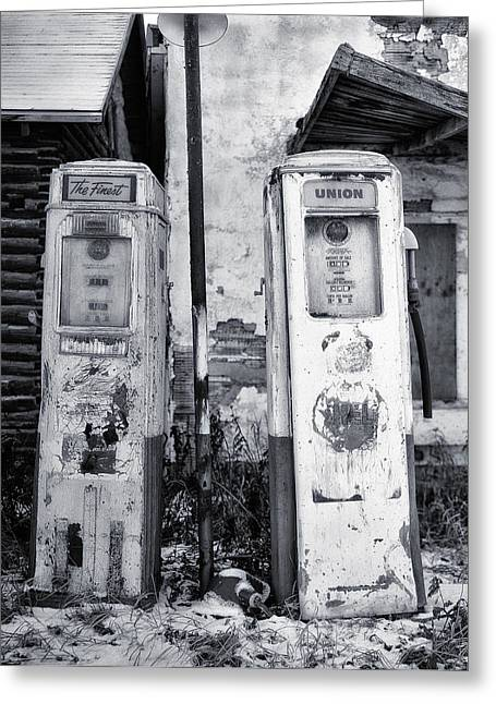 Vintage Shell Gas Pumps Greeting Card by Jack Zulli