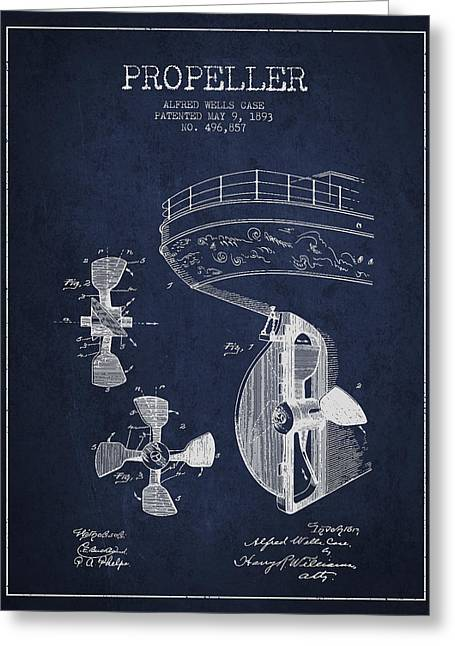 Vintage Ship Propeller Patent From 1893 Greeting Card by Aged Pixel