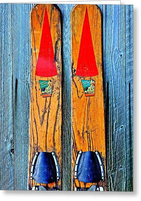 Vintage Skis Greeting Card by Benjamin Yeager