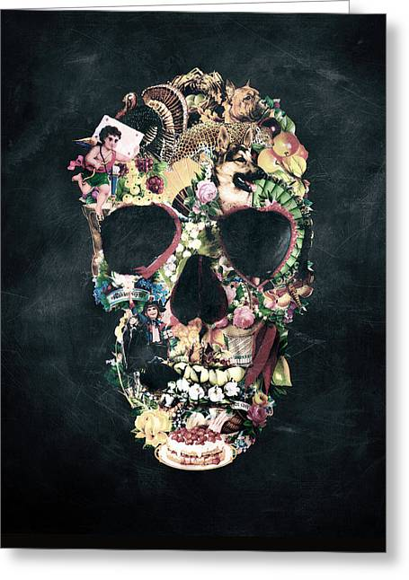 Vintage Skull Greeting Card by Ali Gulec