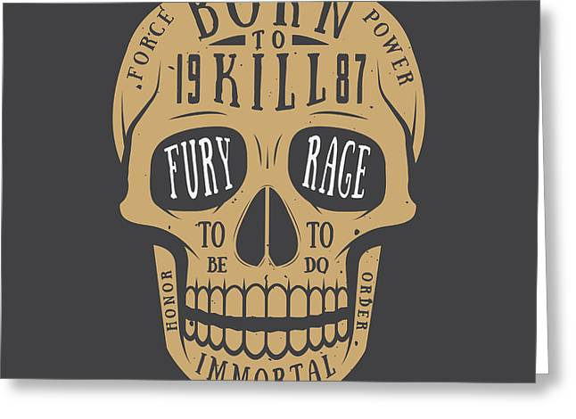 Vintage Skull Label, Emblem And Logo Greeting Card