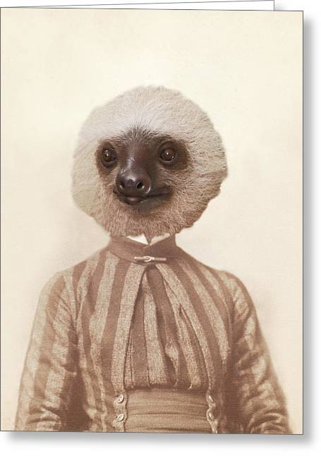 Vintage Sloth Girl Portrait Greeting Card by Brooke T Ryan