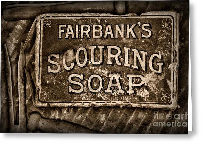 Vintage Soap In Sepia Greeting Card by Paul Ward