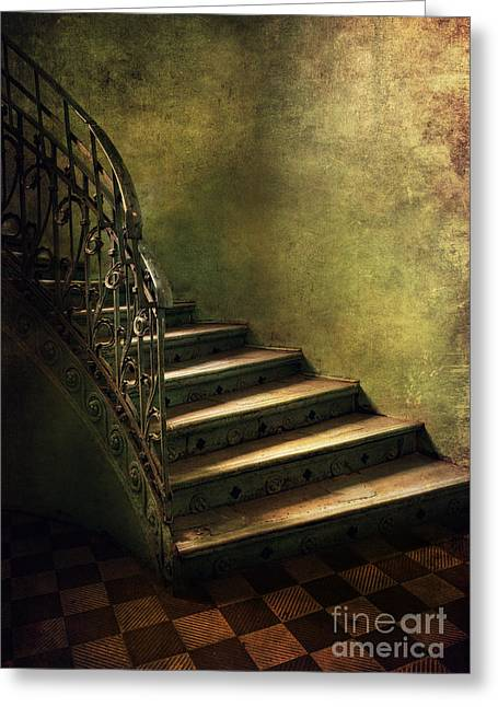 Vintage Staircase With Tiles And Ornamented Handrail Greeting Card by Jaroslaw Blaminsky