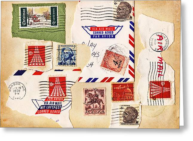 Greeting Card featuring the photograph Vintage Stamps On Old Postcard by Vizual Studio