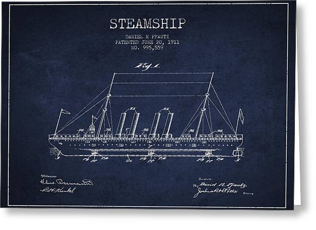 Vintage Steamship Patent From 1911 Greeting Card
