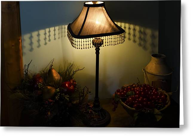 Vintage Still Life And Lamp Greeting Card