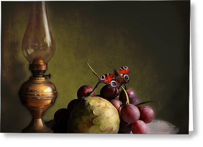Vintage Still Life Butterfly And Fruits Greeting Card by Luisa Vallon Fumi