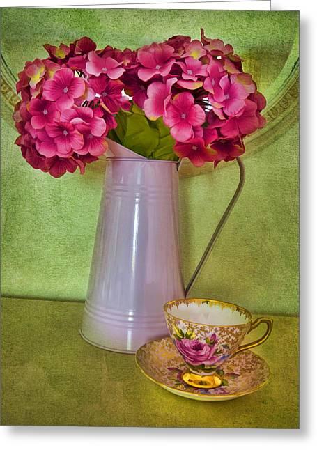 Vintage Still Life With Hydrangea Greeting Card by Gillian Singleton