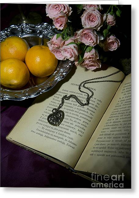 Vintage Still Life With Roses Books And Tangerines Greeting Card by Jaroslaw Blaminsky