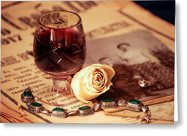 Vintage Still Life With Wine Greeting Card by Anna Aybetova