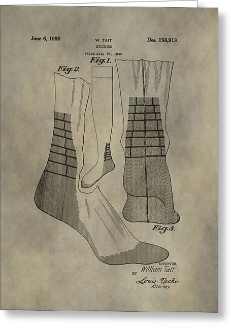 Vintage Stockings Patent Greeting Card by Dan Sproul