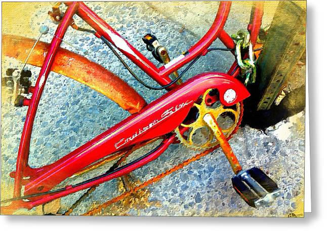 Vintage Street Bicycle Detail Greeting Card by Tony Rubino
