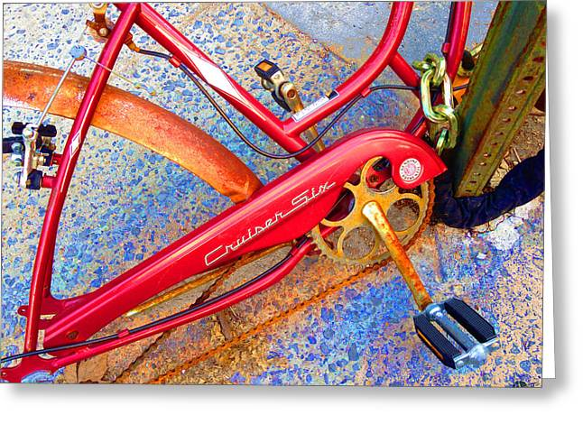 Vintage Street Bicycle Photo Detail Greeting Card by Tony Rubino