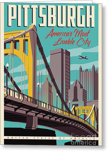 Pittsburgh Poster - Vintage Travel Bridges Greeting Card