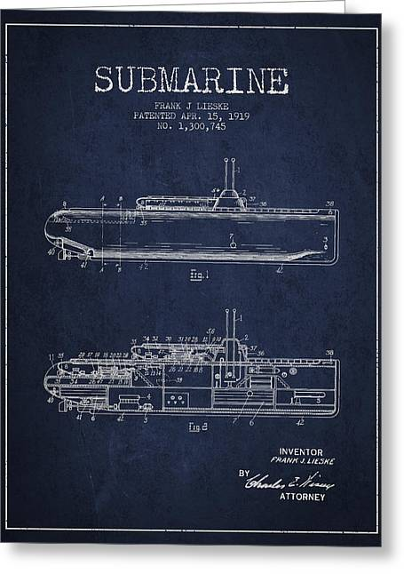 Vintage Submarine Patent From 1919 Greeting Card by Aged Pixel