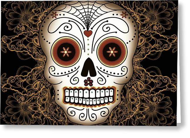 Golds Digital Art Greeting Cards - Vintage Sugar Skull Greeting Card by Tammy Wetzel