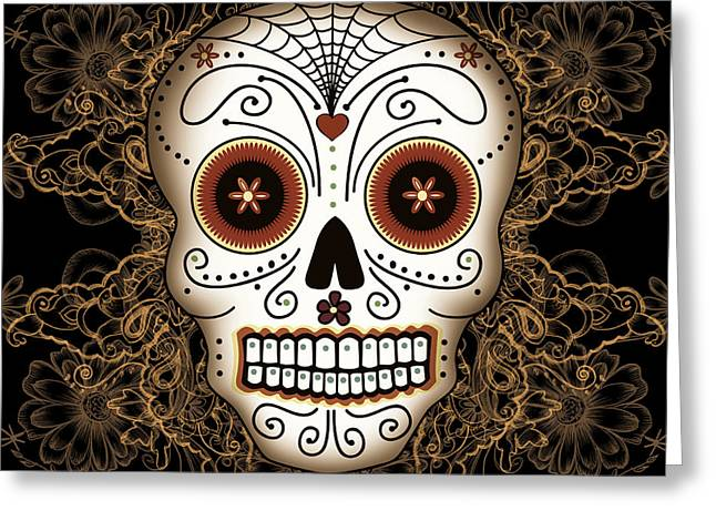 Filigree Greeting Cards - Vintage Sugar Skull Greeting Card by Tammy Wetzel