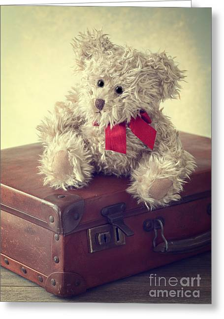 Vintage Suitcase Greeting Card by Amanda Elwell