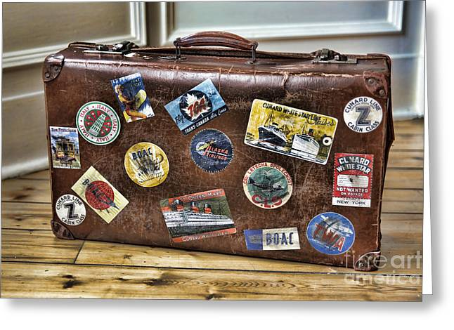 Vintage Suitcase With Labels Greeting Card