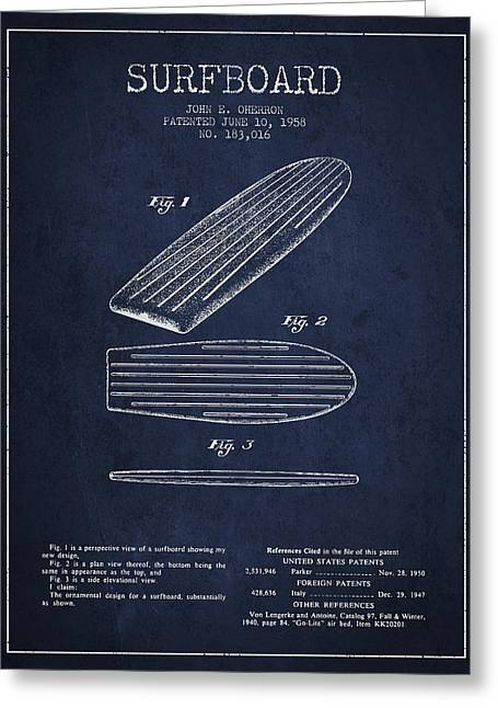 Vintage Surfboard  Patent From 1958 Greeting Card