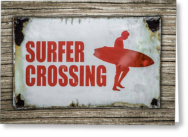 Vintage Surfer Crossing Sign On Wood Greeting Card by Mr Doomits