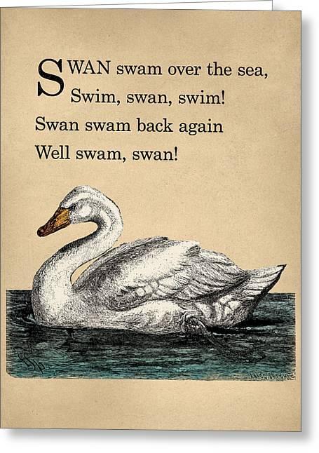 Vintage Swan Nursery Poem Greeting Card by Flo Karp