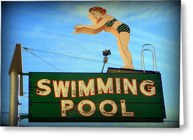 Vintage Swimming Lady Hotel Sign Greeting Card