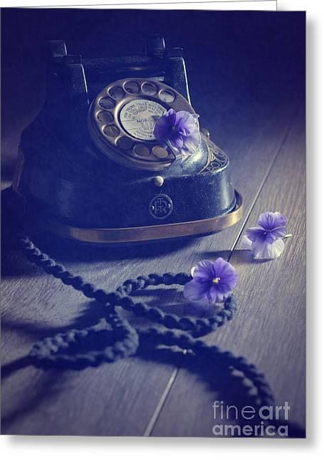 Vintage Telephone Greeting Card by Amanda Elwell