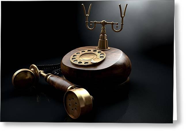 Vintage Telephone Dark Off The Hook Greeting Card by Allan Swart