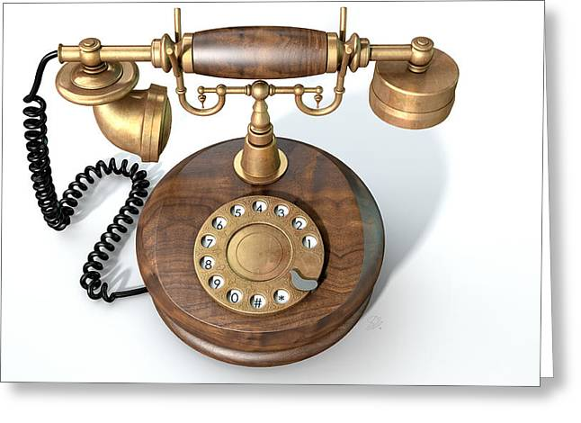 Vintage Telephone Isolated Greeting Card by Allan Swart