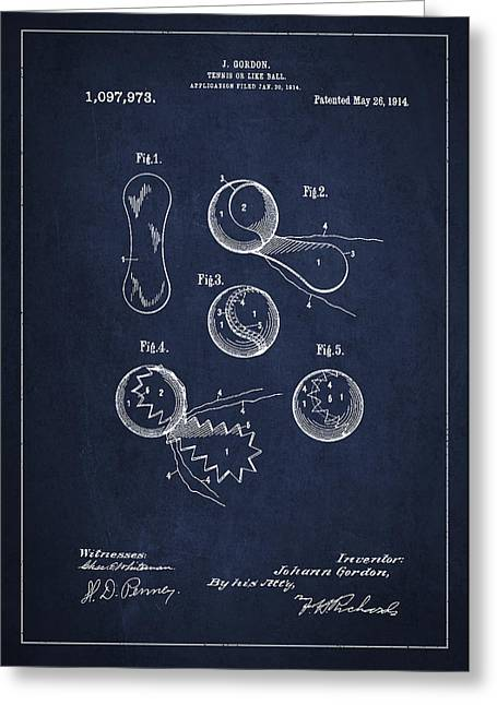 Vintage Tennis Ball Patent Drawing From 1914 Greeting Card