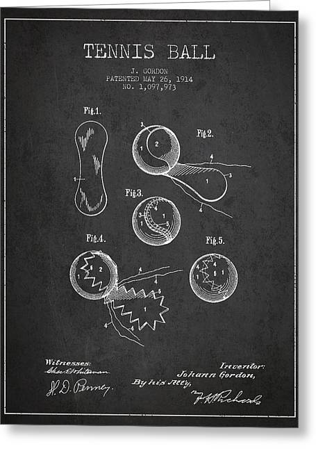 Vintage Tennnis Ball Patent Drawing From 1914 Greeting Card by Aged Pixel