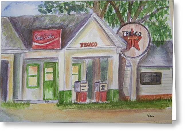 Greeting Card featuring the painting Vintage Texaco Gas Station by Belinda Lawson
