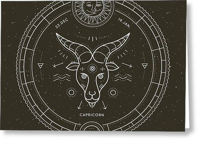 Vintage Thin Line Capricorn Zodiac Sign Greeting Card