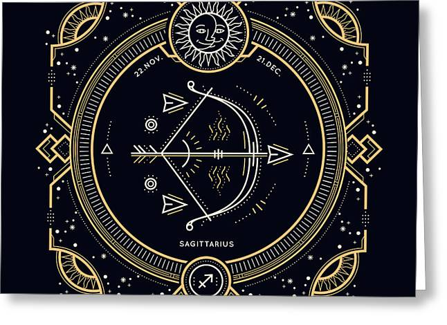 Vintage Thin Line Sagittarius Zodiac Greeting Card