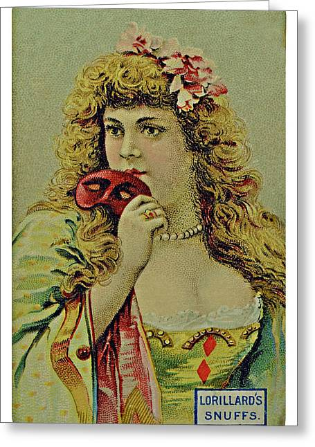 Vintage Tobacco Or Cigarette Card Greeting Card by Susan Leggett