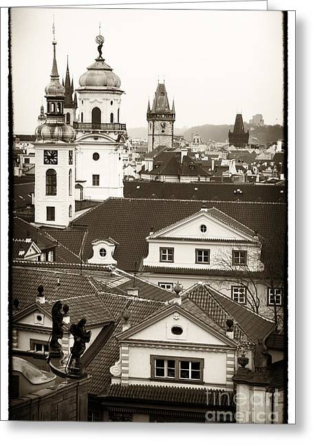Vintage Towers In Prague Greeting Card by John Rizzuto