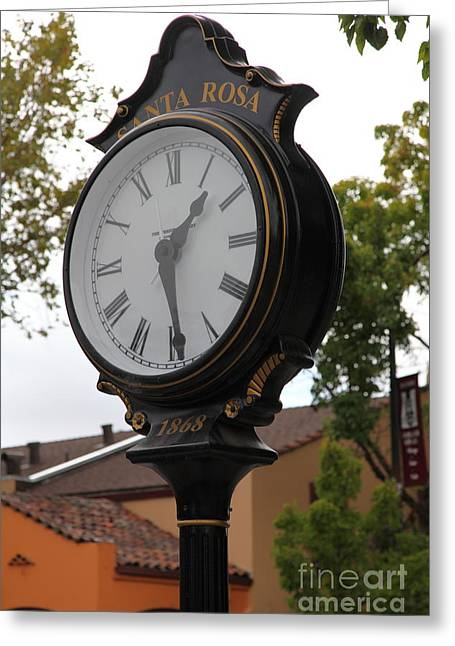Vintage Town Clock In Historic Railroad Square District Santa Rosa California 5d25883 Greeting Card by Wingsdomain Art and Photography