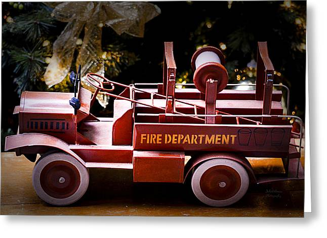 Vintage Toy Fire Truck Greeting Card by Julie Palencia