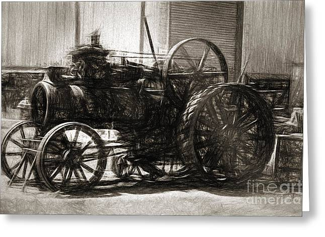 Vintage Tractor Drawing In Industrialised 1900s Greeting Card by Jorgo Photography - Wall Art Gallery