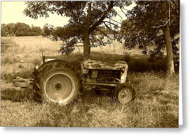 Greeting Card featuring the photograph Vintage Tractor In Sepia by Cynthia Lassiter