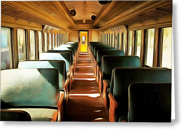 Vintage Train Passenger Car 5d28306brun Square Greeting Card by Wingsdomain Art and Photography