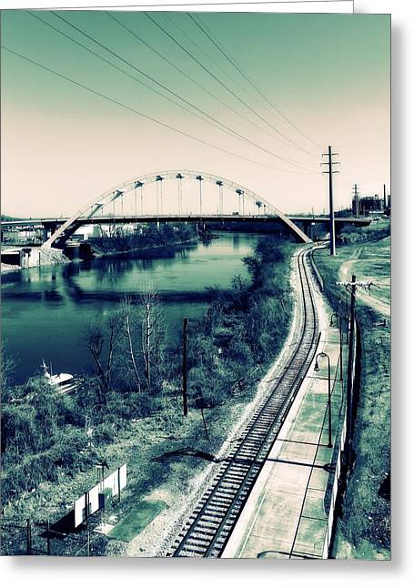 Vintage Train Tracks In Nashville Greeting Card by Dan Sproul