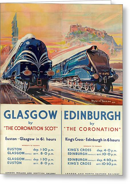 Vintage Train Travel - Glasgow And Edinburgh Greeting Card