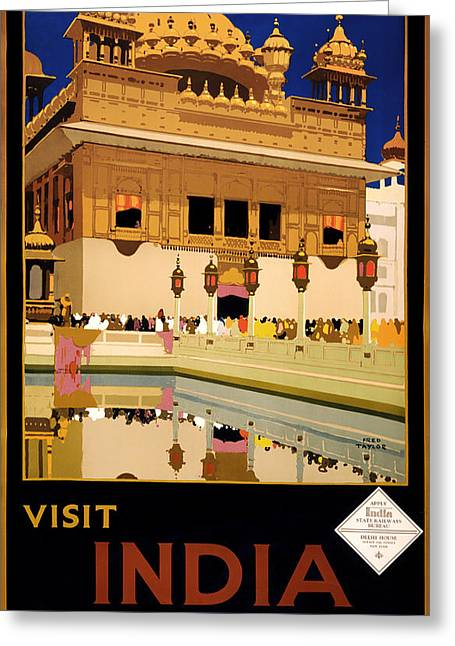 Vintage Travel Poster - Visit India 1935 Greeting Card