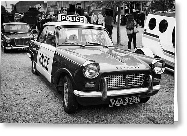 Vintage Triumph Police Car At A Car Rally County Down Northern Ireland Uk Greeting Card